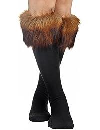 Mujeres Soft Cozy Fuzzy botas de pelo sintético calentadores de la pierna Calcetines cubierta puños