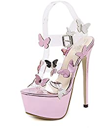huge discount c8392 78219 Frauen Schmetterling Transparent Sandalen Peep Toe Schnalle Extreme  Stiletto High Heels Hochzeit Prom Party Brautschuhe