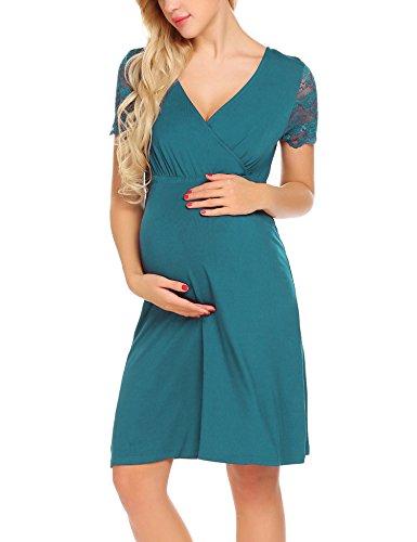 Unibelle vestito da maternità donna abito di maternità abito in pizzo abito di gravidanza scollo a v a maniche corte elegante verde s