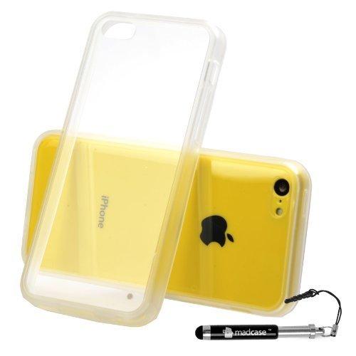 MADCASE Apple iPhone 5C Premium Leder/Harthülle/Gel/Silikon/Strapazierfähig/Durchsichtig/Klar/Portemonnaie/Kreditkartenhalter Flip Case Bumper Ständer Hülle mit Display Schutz und Eingabestift - Weich Clear Back - Clear Bumper
