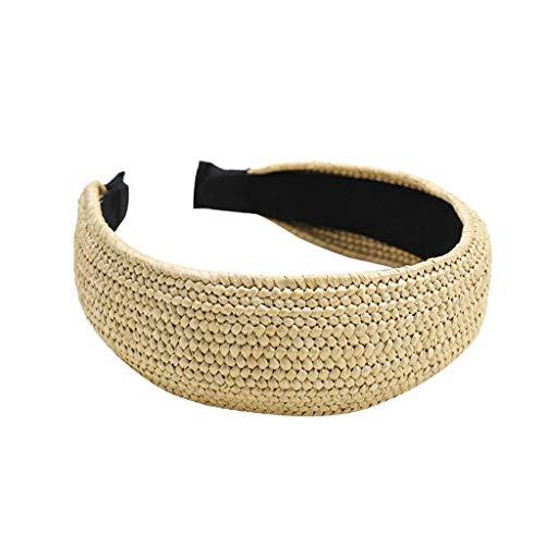 jgashf Damen Mode Stirnbänder Breit Haarbänder Einfache Stirnband Hand weben Lafite Urlaub Stirnband Haar Süße Kopfband Kopfschmuck Haarschmuck(Gelb B)