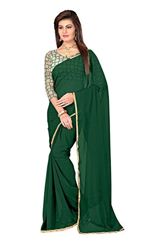 Brothers14Enterprise Chiffon Saree (Chifon.Green_3_Green)