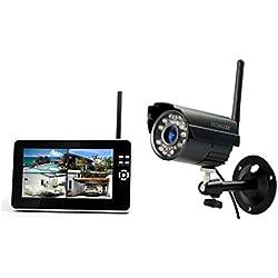Technaxx TX-28 Easy Security Set Télésurveillance avec Fonction enregistrement Ecran LCD 7'' (17,8 cm) Capteur CMOS Noir