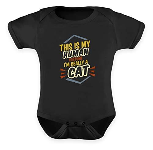 Einfache Schwarze Menschen Für Kostüm - This is My Human Costume I'm Really A Cat - Das Ist Mein Menschkostüm, Ich Bin Eine Katze - Baby Body -0-6 Monate-Schwarz