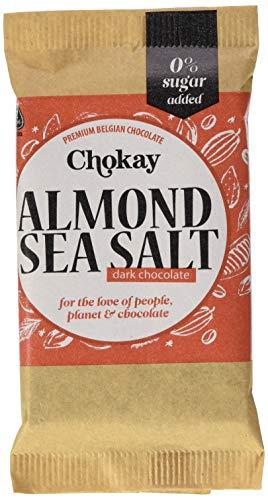 Chokay schokolade Knusprige geröstete Mandeln mit dunkler belgischer Schokolade und einem Hauch von Celtic Meersalz, ohne Zuckerzusatz, 3er Pack (3 x 100 g)