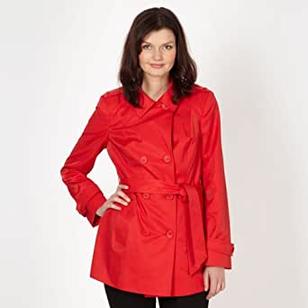 The Collection Womens Red Double Breasted Short Mac Coat 10