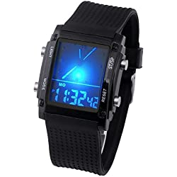 JSDDE Boy's Men's LCD Digital Quartz Watch with LCD Dial Digital Display& Silicon Gel Strap, Black