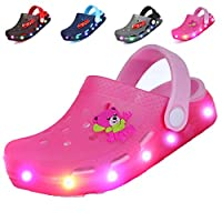 adituob Kids Girls Boys LED Clogs Flash Lighted Summer Beach Shoes Walking Slippers