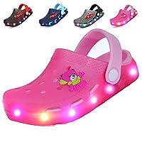 adituob Kids Girls Boys LED Clogs Flash Lighted Summer Beach Shoes Walking Slippers