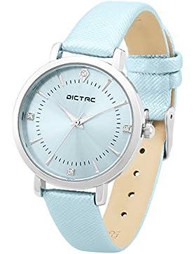 Dictac Damen Armbanduhr 30 Meter Wasserdichte Analoge Quarz Zifferblatt mit Swarovski Kristall Echtes Leder Armband...