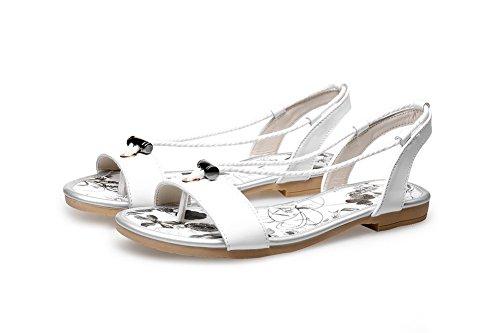 Odomolor Damen Ziehen Auf Weiches Material Niedriger Absatz Zehentrenner Sandalen Weiß