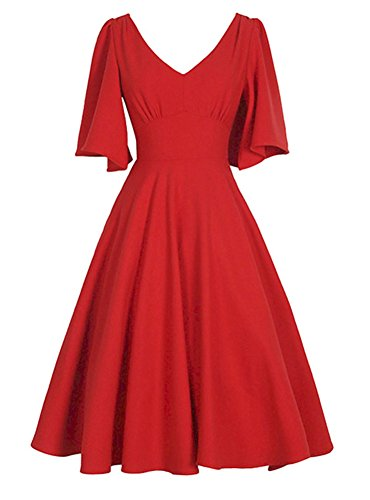 Wealsex Damen Retro Partykleid puffärmel V-Ausschnitt kleid Rot