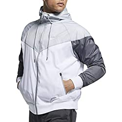 Nike Sportswear Windrunner Veste à Capuche Homme White/Wolf Grey/Dark Grey FR : L (Taille Fabricant : L)