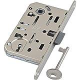 Serrure à encastrer (à larder) avec clé pour porte intérieure - pêne réversible gauche/droite - plaque CHROME à bouts arrondis