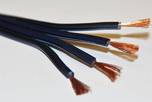 25m di qualità professionale in puro rame OFC 4x 1mm Bi-Wire Loud speaker cable-multi-strand 356(4x 89Strand) by Electrosmart-colore: Blu scuro, con indicatore di polarità nero-Flat Profile-Dimensioni esterne del cavo: 14mm x 3mm
