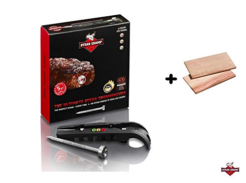 Steak Champ 3-color, the ultimate steak thermometer + Zedernholzbrett Smoky