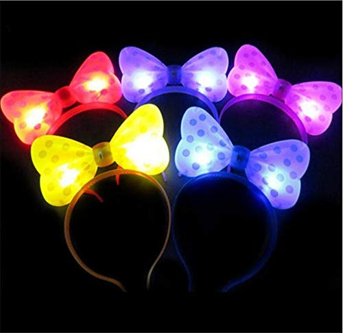 WTB Light Up Bow Ties LED blitzt blinkt Big Mickey Haar-Bogen-Haar-Band-Stirnband Halloween-Fantasie-Partei-Kugel (5pcs Mixed Colors Crown Hairband)