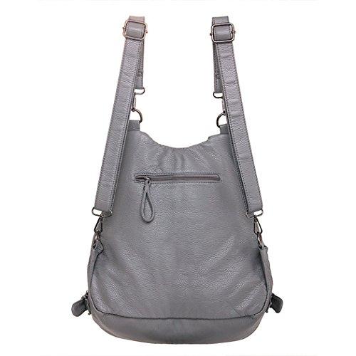 Vbiger pelle sintetica Borsa a tracolla Borse da viaggio alla moda Casual Daypack allaperto con coperchio Flip-open per donne Nero