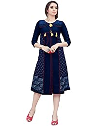 Varayu Women's Cotton Denim Printed Stitched Straight Kurti(170K1004-L,Navy Blue)