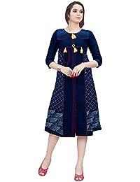 Varayu Women's Cotton Denim Printed Stitched Straight Kurti(170K1004-L,Navy Blue)
