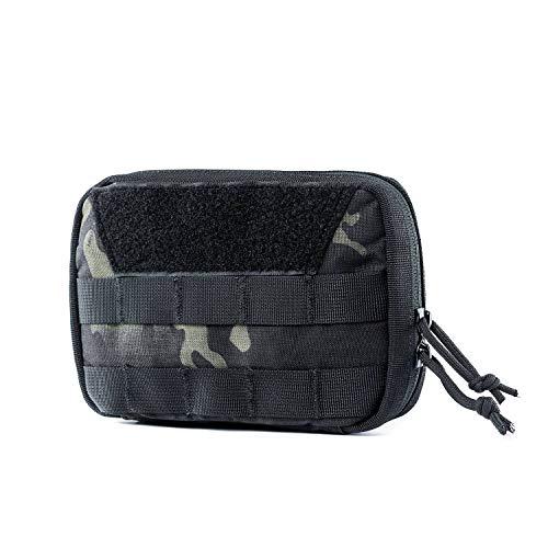 OneTigris Molle EDC Tasche, Cordura Nylon Militäry Werkzeugtasche Taktische Zubehörtasche für Gadget-Dienstprogramm Outdoor, Sport, Wandern (Schwarz-Camo-Basic Version) |MEHRWEG Verpackung -