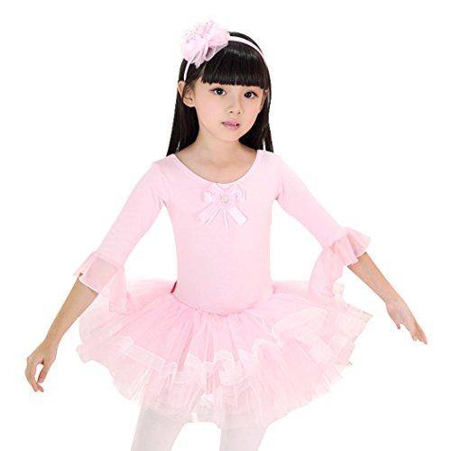 VENI MASEE Ballett-Ballettröckchen-Kleid, Lotusblüte, Mädchengröße 4-8, Preis / Stück,Rosa,4, Kleid Gr. 110
