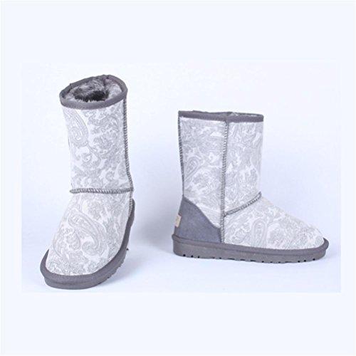 QPYC Neutro nel tubo stivali da neve impermeabile colore speciale femminile stivali mantenere caldo piatto di grandi dimensioni uomini scarpe donna scarpe 34-48 gray tail