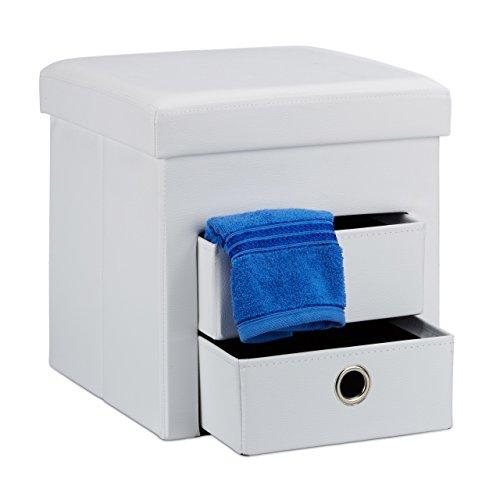 Relaxdays pouf contenitore pieghevole, scomparto interno, 2 cassetti rimovibili, cubo, similpelle, bianco, h x l x p: 38 x 38 x 38 cm