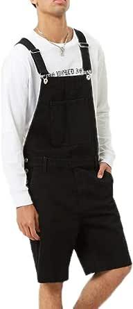 hibasing Men's Short Denim Dungarees Jeans Overalls Duty Workwear Pants