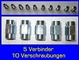 10x Verschraubung 5x Verbinder für Bremsleitung 4,75 mm Bördel F PROFI-QUALITÄT MADE IN GERMANY