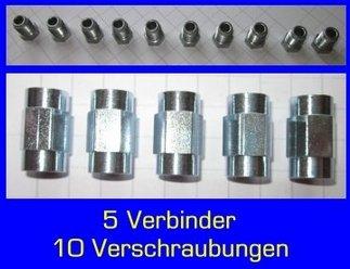 10x Überwurfschraube Bördel F 5x Bremsleitungsverbinder 2 m ATE Bremsleitung