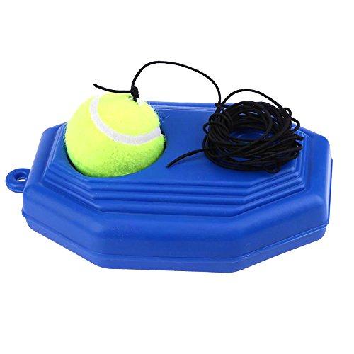 Pingenaneer Trainer Tennis Tennistrainer Ball und Bodenplatte mit Gummischnur Solo Tennistraining Set - Blau -