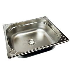 Lavabo in acciaio inox con scarico, 32,5 x 26,5 x 10 cm