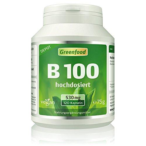 B-50 B-complex Vitamin (B-Komplex 100, extra hochdosiert, 120 Vegi-Kapseln, Wochenration – alle Vitamine der B-Gruppe, für ein gutes Gedächtnis, Konzentration und gute Laune. OHNE künstliche Zusätze. Ohne Gentechnik. Vegan.)