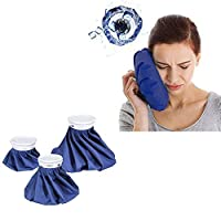 """Ice Bag Packs, 3 Pack Reusable Ice Bag Hot Water Bag for Injuries, Hot & Cold Therapy and Pain Relief, 3 Sizes, by Ashnna (6""""/ 9""""/ 11"""")"""