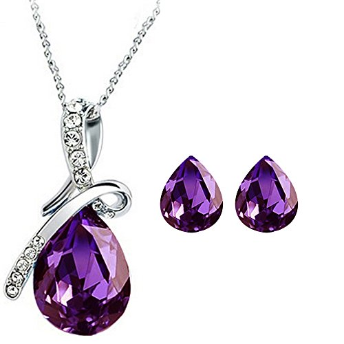 CYAN bow style crystal jewelry set with earrings for women  available at amazon for Rs.399