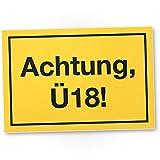 DankeDir! Achtung Ü18 Kunststoff Schild, Geschenk 18. Geburtstag, Geschenkidee Geburtstagsgeschenk Achtzehnten, Geburtstagsdeko/Partydeko / Party Zubehör/Geburtstagskarte