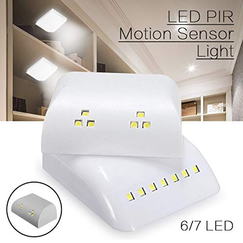 Weiß 7 Schublade (Nachtlicht mit Bewegungsmelder, batteriebetrieben, intelligentes LED-Nachtlicht mit Bewegungsmelder für Kleiderschrank, Schublade, Schlafzimmer, weiß, 7 LED White)