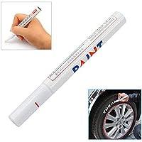 niceEshop® - Pennarello indelebile per pneumatici, vernice metallica, colore: Bianco
