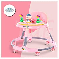 BBYYOP Baby Walker Baby Folding Car 6-18 Months Child Anti-Rollover Multi-Function Walker Music Plate Toy,Pink