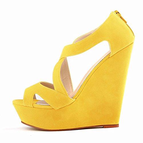 Sandalias de tacon alto - SODIAL(R)zapatos ocasionales de tacon alto de mujer de boda con plataforma zapatos de botines amarillo 41