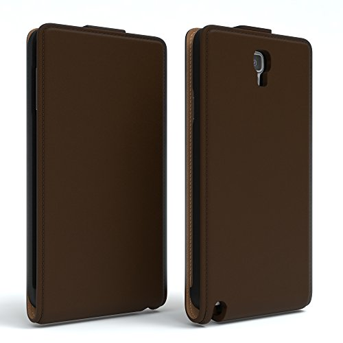 Samsung Galaxy Note 3 Neo Hülle - EAZY CASE Premium Flip Case Handyhülle - Schutzhülle aus Leder zum Aufklappen in Anthrazit Braun