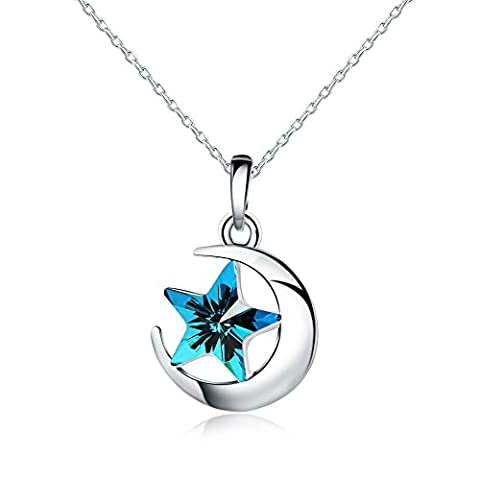 925 Sterling Silver - Austrian Crystal SWAROVSKI - Star Pendant Necklace For Women - 18