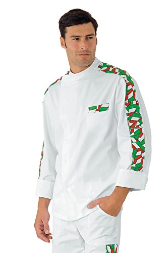 Isacco - Veste Chef Cuisinier Manhattan Blanc imprimé Italy 100% Coton Noir Blanc