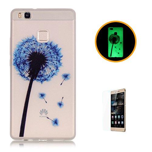CaseHome for Huawei P9 Lite Hülle Leuchtende Silikone Für Huawei P9 Lite Etui Handy Hülle Transparente Stoßstange TPU Gummi Stoßfest Schutz Back Case for Huawei P9 Lite-Blauer Löwenzahn -