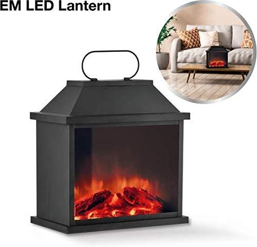 EASYmaxx 04790 LED-Laterne mit Flammen-Optik, Kabellos, Timerfunktion, Schwarz