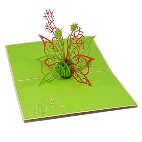 Favour Pop Up Grusskarte mit filigranem Blumenstrauß. Aufwändige Handarbeit und ausgefeilte Lasertechnik schaffen auf kleinstem Raum ein filigranes Kunstwerk. TF012 (', Kunstwerk)
