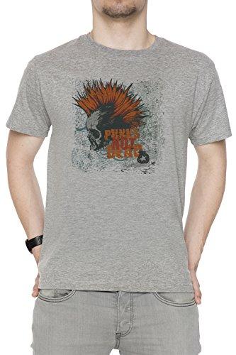 Punks Not Dead Uomo T-shirt Grigio Cotone Girocollo Maniche Corte Grey Men's T-shirt