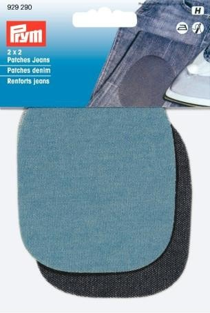 Prym 9 x 8 cm - 2 Paire de Jeans thermocollant/Coudre pour Table Repasser-Bleu Clair/Bleu Fonc