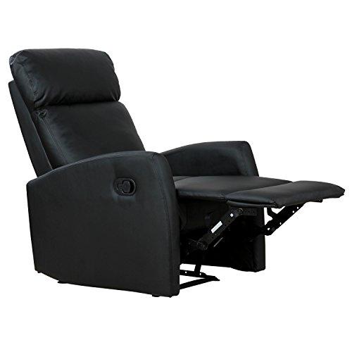 Homcom poltrona relax reclinabile ergonomica ecopelle 65 × 92 × 100cm nero